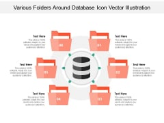 Various Folders Around Database Icon Vector Illustration Ppt PowerPoint Presentation File Examples PDF