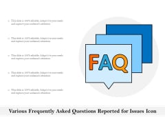 Various Frequently Asked Questions Reported For Issues Icon Ppt PowerPoint Presentation Gallery Show PDF