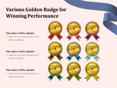 Various Golden Badge For Winning Performance Ppt PowerPoint Presentation File Skills PDF