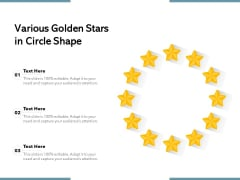 Various Golden Stars In Circle Shape Ppt PowerPoint Presentation Background Images PDF