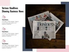 Various Headlines Showing Business News Ppt PowerPoint Presentation Professional Gridlines PDF