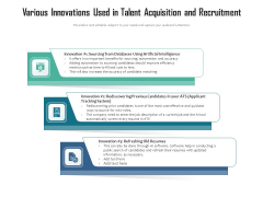 Various Innovations Used In Talent Acquisition And Recruitment Ppt PowerPoint Presentation File Pictures PDF