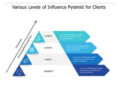 Various Levels Of Influence Pyramid For Clients Ppt PowerPoint Presentation Gallery Template PDF
