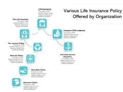 Various Life Insurance Policy Offered By Organization Ppt PowerPoint Presentation File Picture PDF