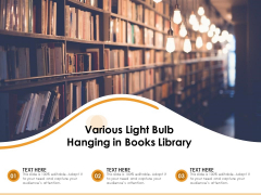Various Light Bulb Hanging In Books Library Ppt PowerPoint Presentation Icon Layouts PDF