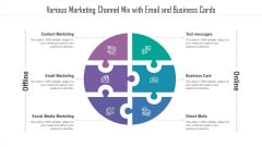 Various Marketing Channel Mix With Email And Business Cards Ppt Ideas Background PDF