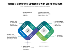 Various Marketing Strategies With Word Of Mouth Ppt PowerPoint Presentation Model Backgrounds PDF
