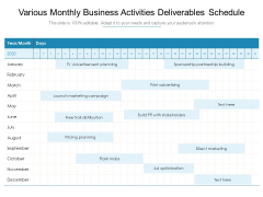 Various Monthly Business Activities Deliverables Schedule Ppt PowerPoint Presentation Layouts Graphics Download PDF