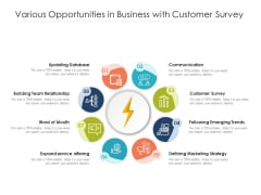 Various Opportunities In Business With Customer Survey Ppt PowerPoint Presentation File Example PDF