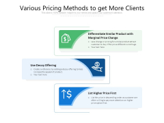 Various Pricing Methods To Get More Clients Ppt PowerPoint Presentation Infographics Template PDF