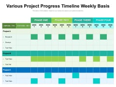 Various Project Progress Timeline Weekly Basis Ppt PowerPoint Presentation File Icon PDF