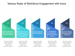 Various Rules Of Workforce Engagement With Icons Ppt PowerPoint Presentation Styles Elements PDF