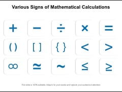 Various Signs Of Mathematical Calculations Ppt PowerPoint Presentation Gallery Information PDF