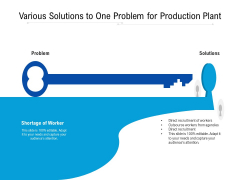 Various Solutions To One Problem For Production Plant Ppt PowerPoint Presentation File Objects PDF