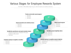 Various Stages For Employee Rewards System Ppt PowerPoint Presentation File Layout PDF