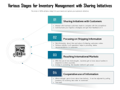 Various Stages For Inventory Management With Sharing Initiatives Ppt PowerPoint Presentation Gallery Smartart PDF