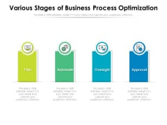 Various Stages Of Business Process Optimization Ppt PowerPoint Presentation Layouts Format PDF