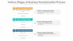 Various Stages Of Business Transformation Process Ppt Portfolio Structure PDF