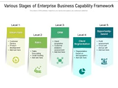 Various Stages Of Enterprise Business Capability Framework Ppt PowerPoint Presentation File Clipart Images PDF