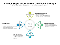 Various Steps Of Corporate Continuity Strategy Ppt PowerPoint Presentation Gallery Skills PDF