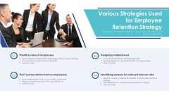 Various Strategies Used For Employee Retention Strategy Ppt Styles Graphics Tutorials PDF