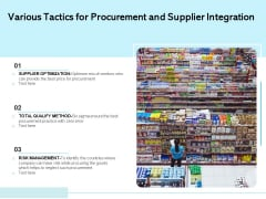 Various Tactics For Procurement And Supplier Integration Ppt PowerPoint Presentation File Introduction PDF