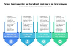 Various Talent Acquisition And Recruitment Strategies To Get More Employees Ppt PowerPoint Presentation Infographics Good PDF