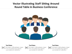 Vector Illustrating Staff Sitting Around Round Table In Business Conference Ppt PowerPoint Presentation File Summary PDF