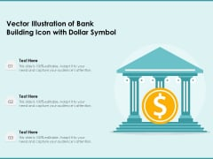 Vector Illustration Of Bank Building Icon With Dollar Symbol Ppt PowerPoint Presentation Summary Gridlines PDF