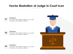 Vector Illustration Of Judge In Court Icon Ppt PowerPoint Presentation Gallery Elements PDF