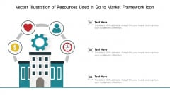 Vector Illustration Of Resources Used In Go To Market Framework Icon Ppt PowerPoint Presentation File Slides PDF