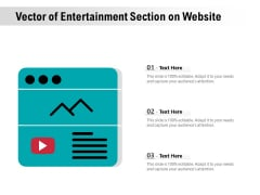 Vector Of Entertainment Section On Website Ppt PowerPoint Presentation Icon Smartart