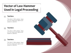 Vector Of Law Hammer Used In Legal Proceeding Ppt PowerPoint Presentation Gallery Designs PDF