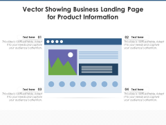 Vector Showing Business Landing Page For Product Information Ppt PowerPoint Presentation Icon Example PDF