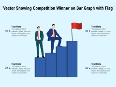 Vector Showing Competition Winner On Bar Graph With Flag Ppt PowerPoint Presentation File Sample PDF