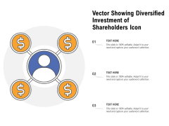 Vector Showing Diversified Investment Of Shareholders Icon Ppt PowerPoint Presentation File Guide PDF