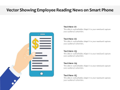 Vector Showing Employee Reading News On Smart Phone Ppt PowerPoint Presentation File Infographics PDF