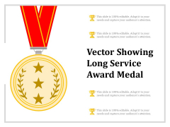 Vector Showing Long Service Award Medal Ppt PowerPoint Presentation Pictures Templates PDF