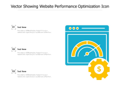 Vector Showing Website Performance Optimization Icon Ppt PowerPoint Presentation File Example Introduction PDF
