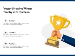 Vector Showing Winner Trophy With Star Icon Ppt PowerPoint Presentation Inspiration Diagrams PDF