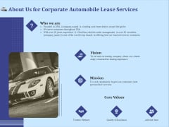 Vehicle Leasing About Us For Corporate Automobile Lease Services Summary PDF