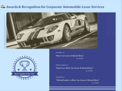 Vehicle Leasing Awards And Recognition For Corporate Automobile Lease Services Clipart PDF