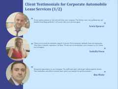 Vehicle Leasing Client Testimonials For Corporate Automobile Lease Services Structure PDF