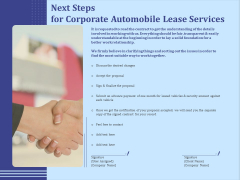 Vehicle Leasing Next Steps For Corporate Automobile Lease Services Demonstration PDF