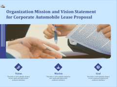 Vehicle Leasing Organization Mission And Vision Statement For Corporate Automobile Lease Proposal Mockup PDF