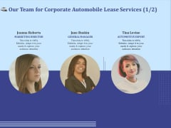 Vehicle Leasing Our Team For Corporate Automobile Lease Services Marketing Infographics PDF