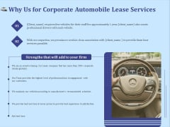 Vehicle Leasing Why Us For Corporate Automobile Lease Services Themes PDF