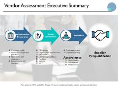 Vendor Assessment Executive Summary Ppt PowerPoint Presentation Ideas Smartart