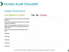 Vendor Audit Checklist Ppt Powerpoint Presentation Show Example