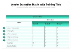 Vendor Evaluation Matrix With Training Time Ppt PowerPoint Presentation Pictures Vector PDF